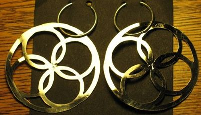 Quatrefoil Flower and Circles Earrings 2""