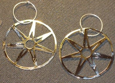 Seven Pointed Star Earrings 2""